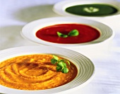 Three creamy vegetable soups (carrot, tomato, spinach)