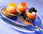 Canapés with salmon, egg & three types of caviare on plate