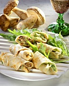 Filled crepe roulades with avocado & cep filling
