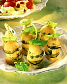Courgette potatoes with basil on cocktail stick