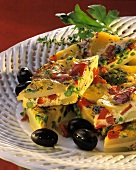Spanish vegetable tortilla, cut into small pieces