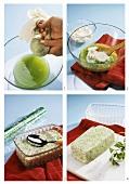 Making cucumber mousse (squeezing cucumber, folding in cream)
