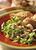 Marinated mushrooms with salad leaves and flat bread