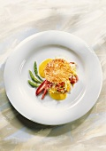 Millefeuille of lobster & mango with asparagus vinaigrette