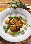 Rhine eel in sauce with pearl onions & young vegetables