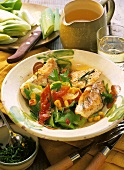 Turkey escalope with leek, sweetcorn and peppers