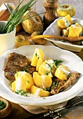 Beef steaks with caramelised Teltow turnips