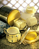Still life with cheese & cheese-making utensils