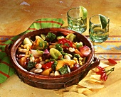 Mexican vegetable stew; tortilla chips and chili