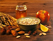 Ingredients for Bircher muesli: oats, honey, apple, nuts