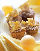 Muffins with cornflakes and apricot jam