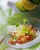 Catfish cevice with tomatoes, coriander in bowl with fork