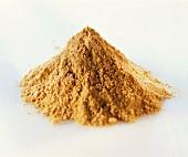 Mustard powder on a white background