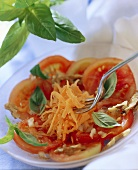 Tomatoes in walnut vinaigrette with carrots and basil