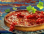 Redcurrant tart with trusses of redcurrants on glass plate