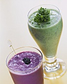 Herb kefir with cress and blackberry drink in glasses
