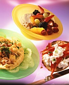 Shrimp scrambled egg; muesli & fruit; bread & cottage cheese