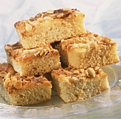 Pieces of butter cake with almonds