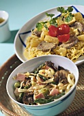 Noodles with beef; noodles and ham with asparagus
