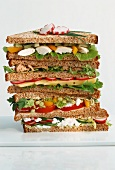 Healthy sandwiches in a pile