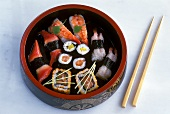 Various sushi in a Japanese bowl