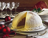 A festive dome cake made from light and dark mousse