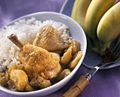 Chicken curry with banana and rice