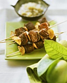 Spicy beef sate with garlic and ginger