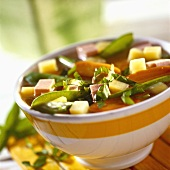 Spring vegetables casserole with Lyoner sausage