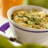 Baked chicken and vegetable ragout in soup cup