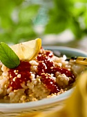 Rice pudding with rhubarb and raspberry sauce