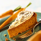 A piece of carrot cake with mascarpone