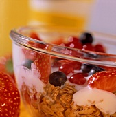 Berry muesli with crunchies in a glass bowl