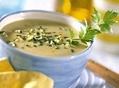 Cream of potato soup with gremolata and parsley