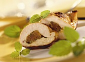 Chicken breast with apricot stuffing and lemon balm