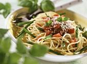 Spaghetti ai fagiolini (Spaghetti with green beans, Italy)