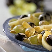 Grape salad with apple zabaione and flaked almonds