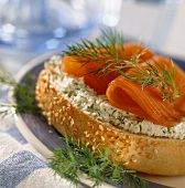 Smoked salmon roll with dill and cream cheese