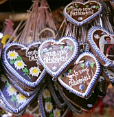 October Festival gingerbread hearts on a market stall