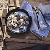 Herring rolls in frying pan in open air