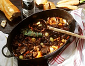 Boeuf bourguignon in a cast iron casserole