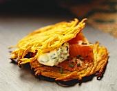 Potato pancake with smoked salmon and crème fraiche