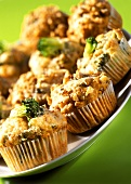 Broccoli & cheese muffins and Roquefort & walnut muffins