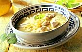 Greek lemon soup with chicken breast and lemon balm