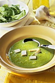 Spinach soup with egg custard garnish