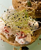 Soft cheese mousse with radishes and cress on bread roll
