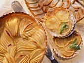 Pear tart, lemon tartlets and apple tart