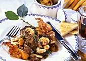 Boeuf bourguignon with bacon, carrots and mushrooms