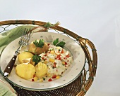 Jacket potatoes with paprika quark on a plate with a fork