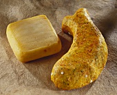Two cheeses: Cure Nantais and fish-shaped Dauphin